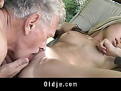 Youthfull insane light-haired tempts and boinks grandpa