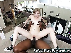 Penny Pax Smallish lady glasses takes on hefty dark-hued man-meat