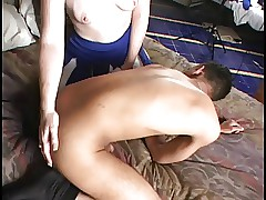 Black guy gets ass screwed by girl with strap on cock and creams her gams