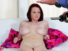 Real bigtit redhead at casting bed x