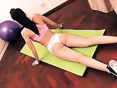 Super-steamy Yoga! Buxomy Black-haired Teenager Doing! Lush Ass! Thick Cameltoe