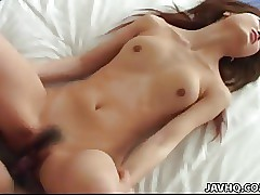 Jabbing her cock-squeezing Asian pussy with his erect jizz-shotgun