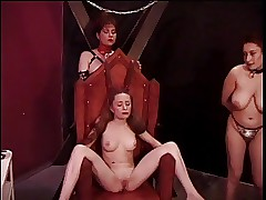 Slutty redhead is tantalized by two older doms