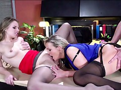 Crazy stepmom and stepdaughter gets assfuck