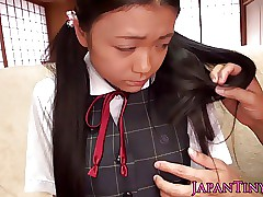 Tiny busty japanese schoolgirl clitoris stimulated