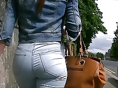 Candid teen ass in taut blue denim