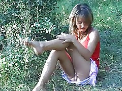 Baby teen masturbate in the park