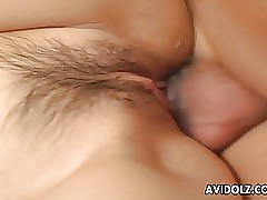 Asian hairy snatch receives a sweet dick in