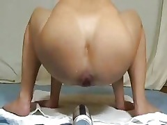 Amateur slut fisting her ass with huge bottle. Extraordinary
