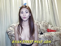 Little Chinese Girlette With Bobbing Bra-stuffers