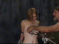 Magnificent blonde soldier girl with excellent orbs has her nipples tortured and clamped