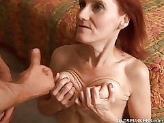 Skinny mature redhead likes to fuck and the taste of cum