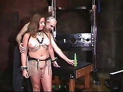 Busty chick gets teased and punished in dungeon space