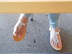 Candid Asian Teenage Library Feet in Sandals Face HD