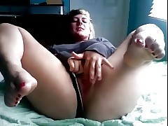 Fat Obese Teen Girlfriend masturbating with nice delicious feet
