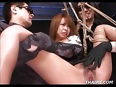 Suspended Rough Toyed Hairy Asian Teen