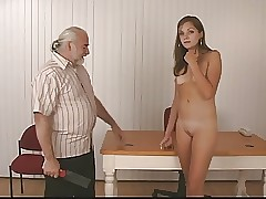 Slim sexy brunette takes off for old guy who whips her firm plump rump