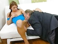 Young chick exposes her cunt for an old fucker