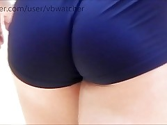 tight blue latex cut-offs on sexy college volleyball girls