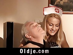 2 retired old fellows dual penetrate their sexy nurse