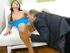 Excited old fucker enjoys sex with young hottie