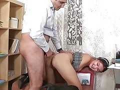 Older teacher is subduing youthfull babes beaver