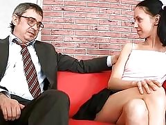 Alluring old teacher is drilling honey doggystyle