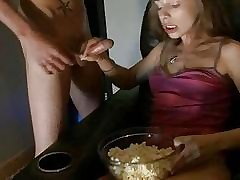 Teenage sweetheart is giving grizzly a lusty oraljob
