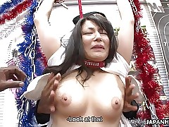 Asian whore getting freaky with the black dudes