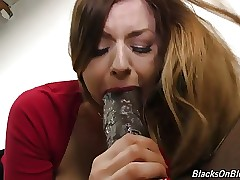 Busty girl Stella gargle and fuck monster dark-hued cock