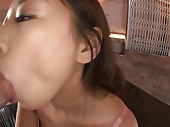 Japanese whore gets fucked and takes a warm load on her belly
