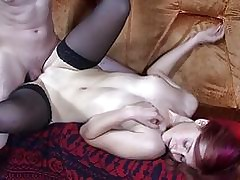 Uber-cute Goth dicked bimbo in stocking pornography flick