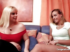 Sensuous lesbian lovemaking between two cool blondes