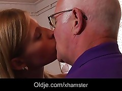 Horny schoolgirl first time fucking grandpa after dt
