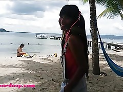 Ameteur Tiny Teen Heather Deep at the beach give inhale