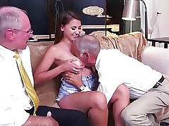 Young Girl Having fun with Older Men