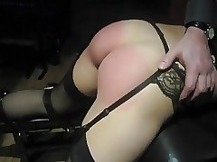 Teen Slave's Ass Spanked Rock hard