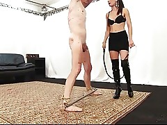 Cruel skinny mistress whips and tortures her sub
