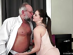 Angelina Brill fucks an older gent