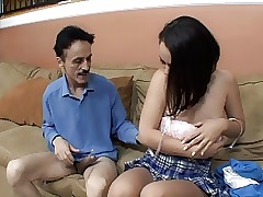 Older guy loves to fuck this sexy young chick with perky breasts in her pussy