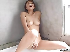 Crispy clear Asian babe rubbing on her humid pussy