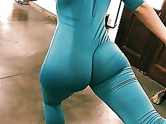 Bubble Butt Tiny Waist Teenage Has Big Cameltoe In Lycra Bodysu