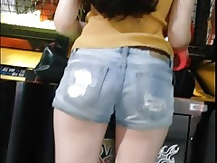 HOT BACK VIEW AT CHINESE AMUSEMENT ARCADE
