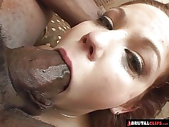 BrutalClips -  Baby-faced breezy drains three huge black cocks