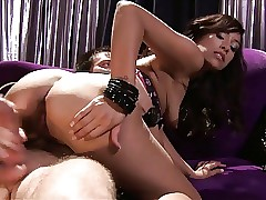 Japanese breezy Alliyah Sky enjoys taking cock deep in her twat while fellow is kissing her