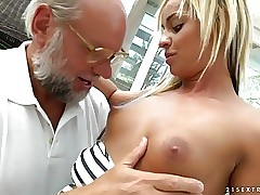 Grandpa cumming right to Angelina Julie