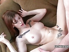Redhead coed Indigo Augustine takes some dick from a geek