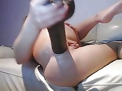 Blonde Teen Beauty Rams Big Dark-hued Dildo In Her Ass