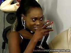 Hot African babe teases milky perv