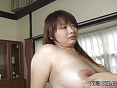 Japanese huge-titted bitch gets her hairy muff filled up